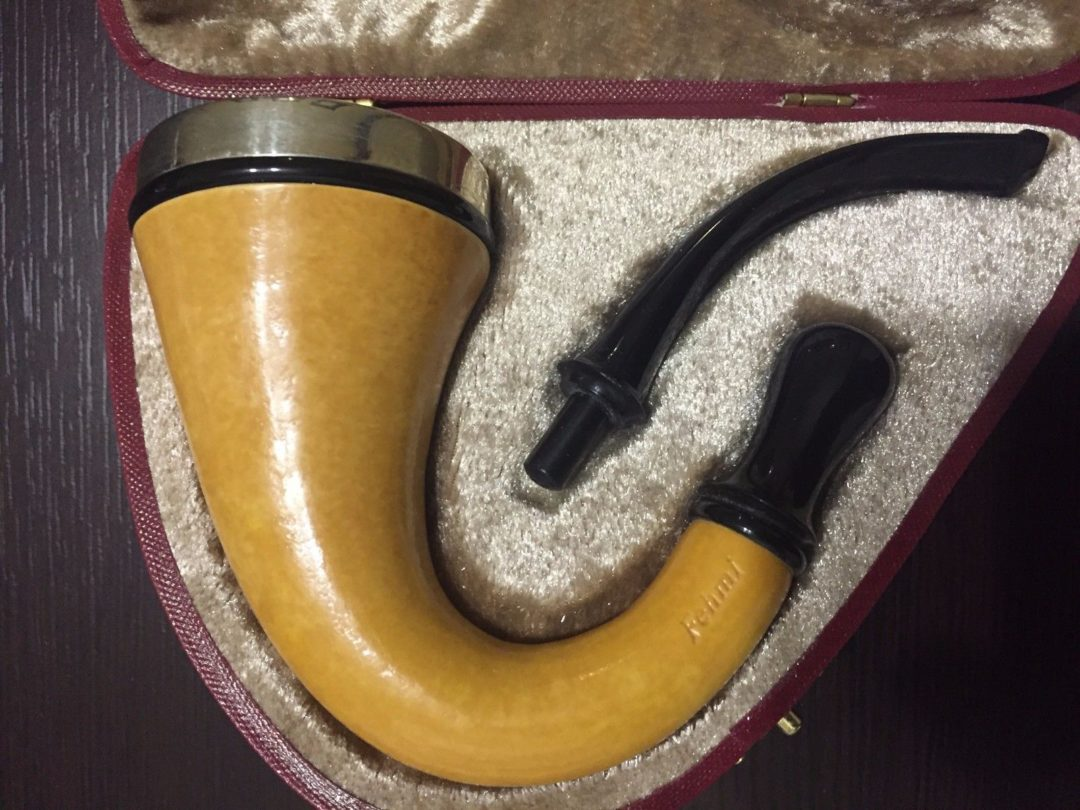 EDWARDIAN STYLE CALABASH GOURD PIPE WITH TURKISH BLOCK MEERSCHAUM