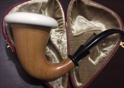 NOT GOURD Calabash Sherlock Style Hand Made Meerschaum + Made from Mahogany wood